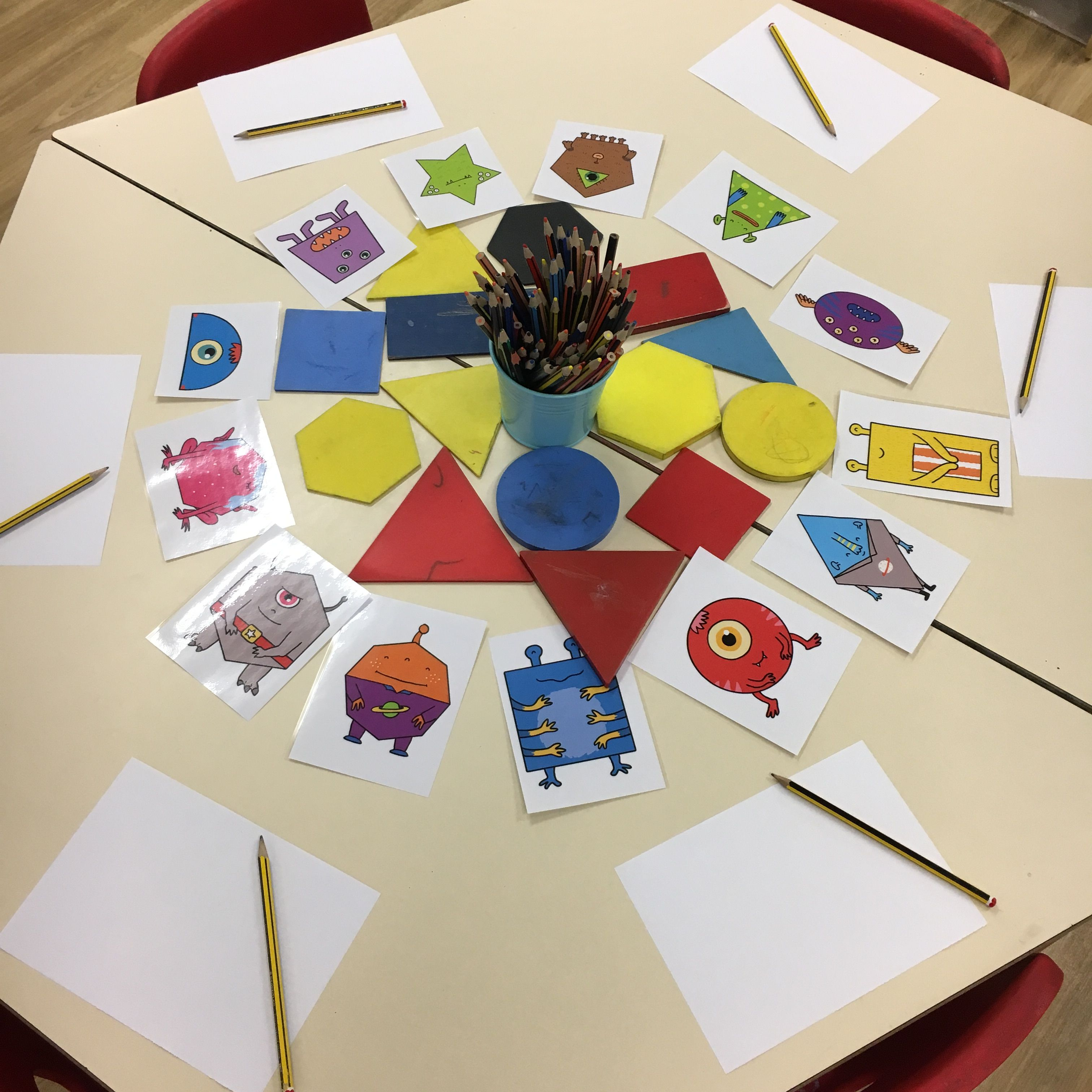 The Children Drew Around One Of The Shapes For The Body Of