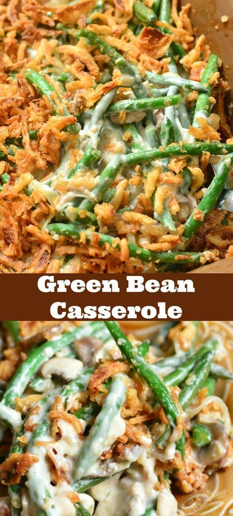 Green Bean Casserole Recipe. This casserole is made with fresh green beans, creamy mushrooms sauce, and French's fried onions. #greenbeans #casserole #sidedish #sides #greenbean
