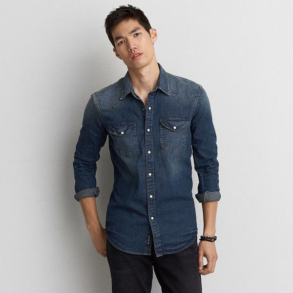 3fde126350 AE Flex Denim Western Shirt ( 22) ❤ liked on Polyvore featuring men s  fashion