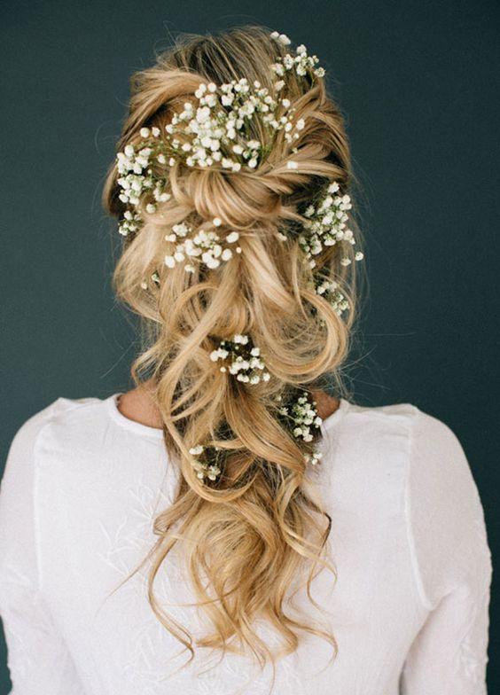 Hochzeitsfrisur Echte Blumen Brautfrisur Boda Novios Und