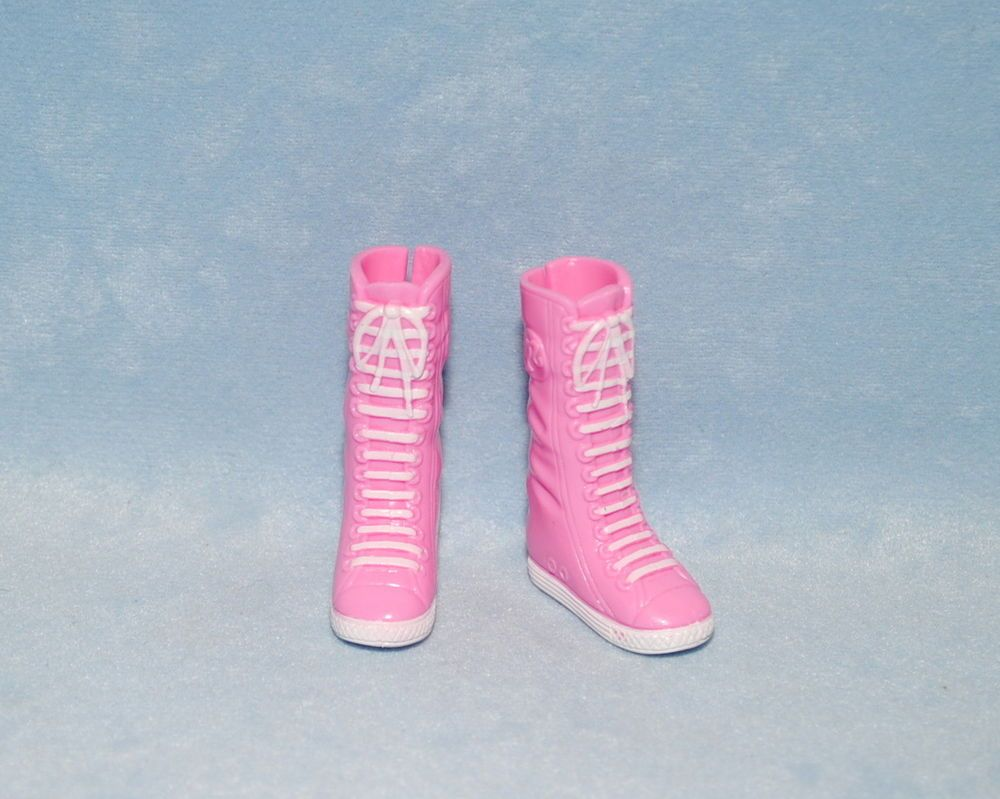 SKATER CHICK! Tall Pink Faux Lace Up Pink Athletic Tennis Shoe Boots for BARBIE