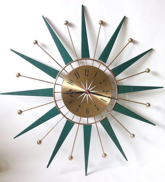 Retro Sunburst Starburst Teak Wood Westclox Wall Clock Green Teak
