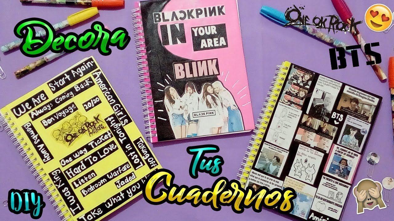 Portadas Para Cuadernos Decora Tus Libretas Con Dibujos: DIY: Decora Tus Cuadernos! [BTS, BLACK PINK, ONE OK ROCK