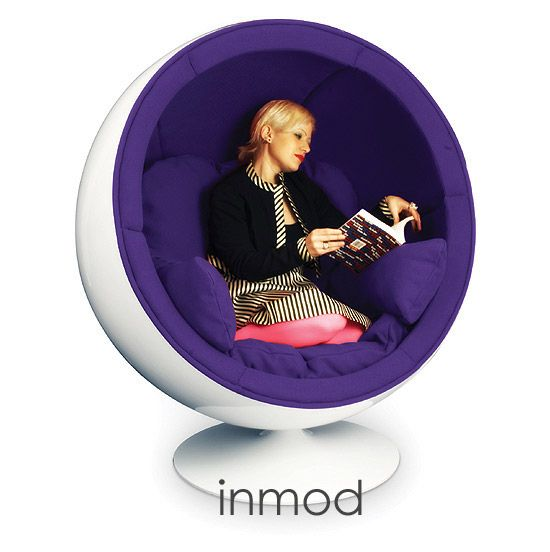 Inmod Egg Chair. Looks like an excellent nest to hide out in though I probably wouldnu0027t fit in it as neatly as the model )  sc 1 st  Pinterest & Stereo Ball Chair | Ideas / Secret HQ | Pinterest | Egg chair Nest ...