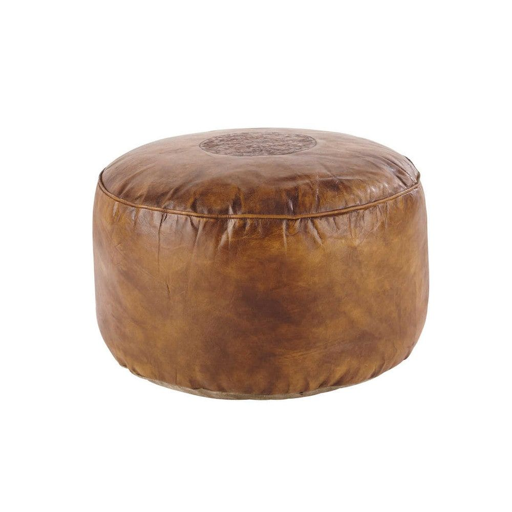 Pouf en cuir de chèvre marron | Marrón, Piel y Sillas