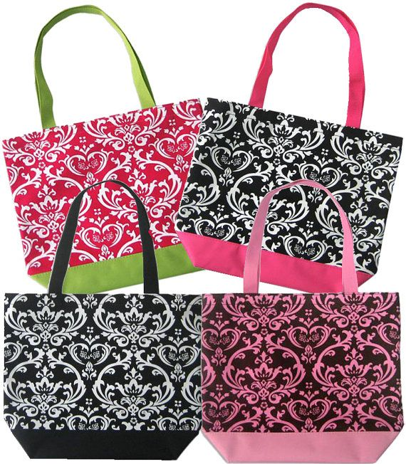 Personalized Damask Totes