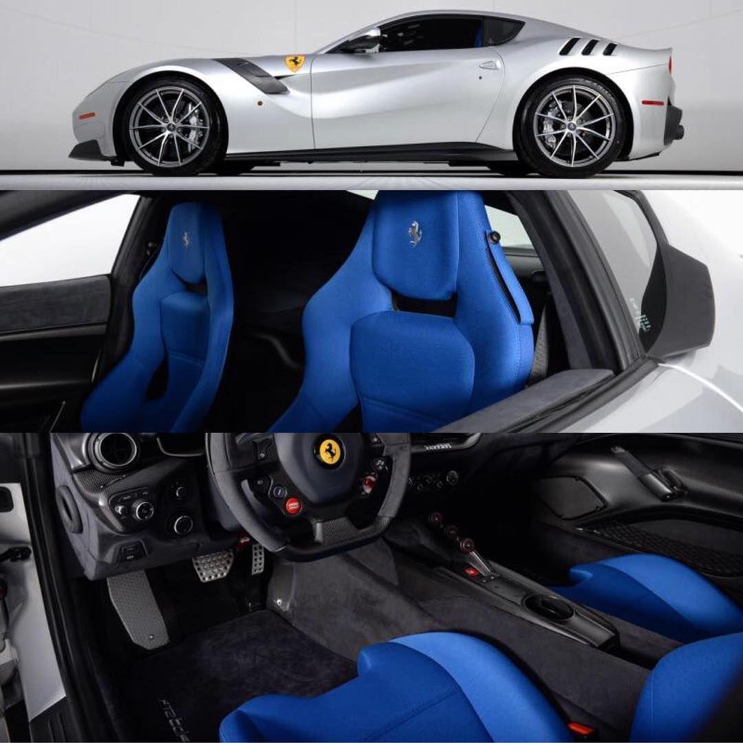Ferrari F12 Silver With Black Blue And Grey Interior Custom Seats Ferrari Car Seats Gray Interior