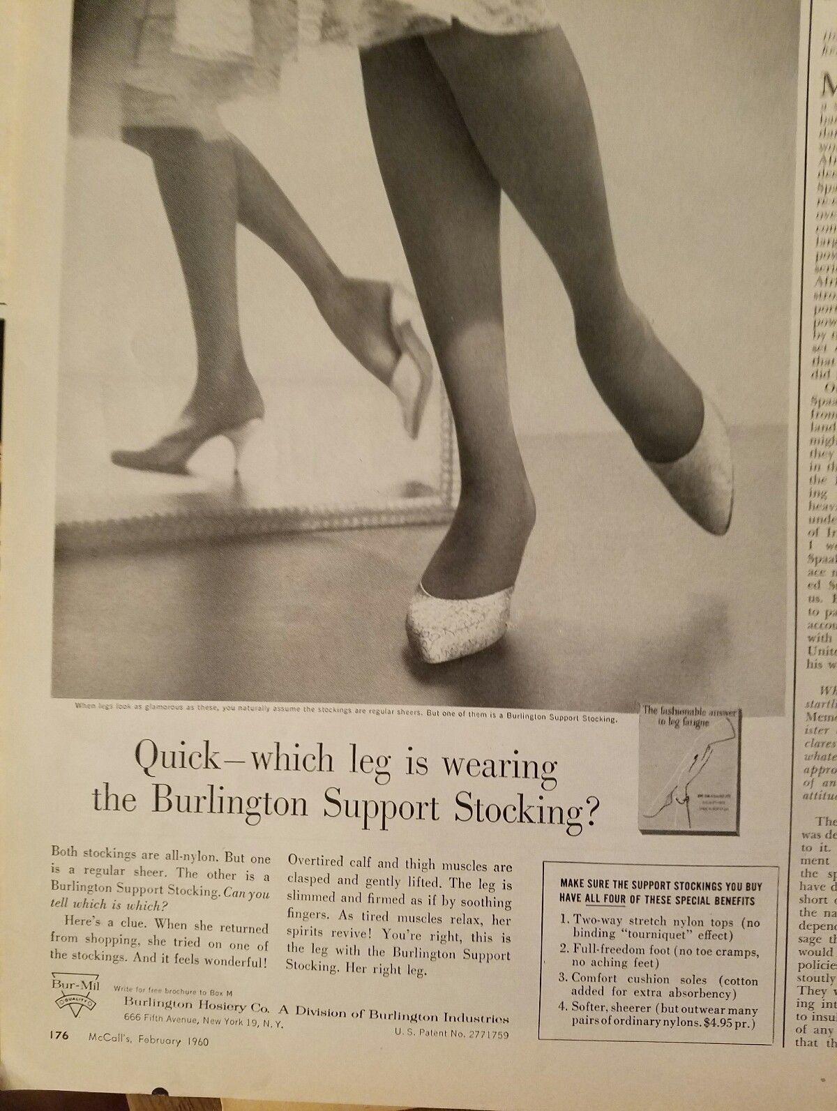 7f065f1ab22a64 1960 women's Burlington support stockings Hosiery legs vintage ad ...
