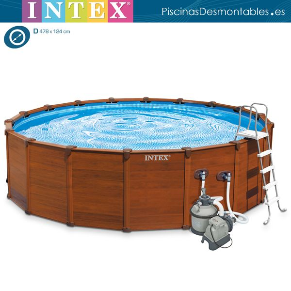 Espectacular piscina de imitaci n a madera de la serie for Ideas para piscinas intex