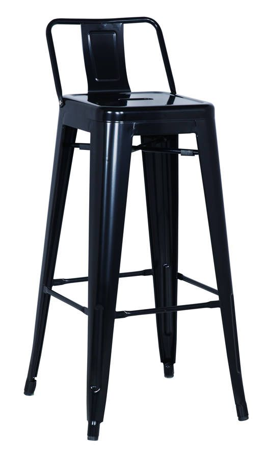 4 Black Metal Galvanized Steel Bar Stools With Images Metal Bar Stools Bar Stools Metal Stool