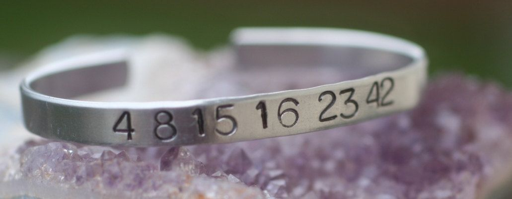 Lost Numbers 4 8 15 16 23 42 Hand Stamped Aluminum Bracelet