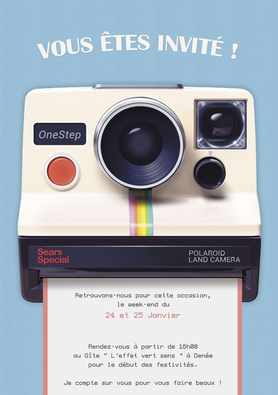 Super Invitation personnalisable pour anniversaire : thème polaroid  CN74