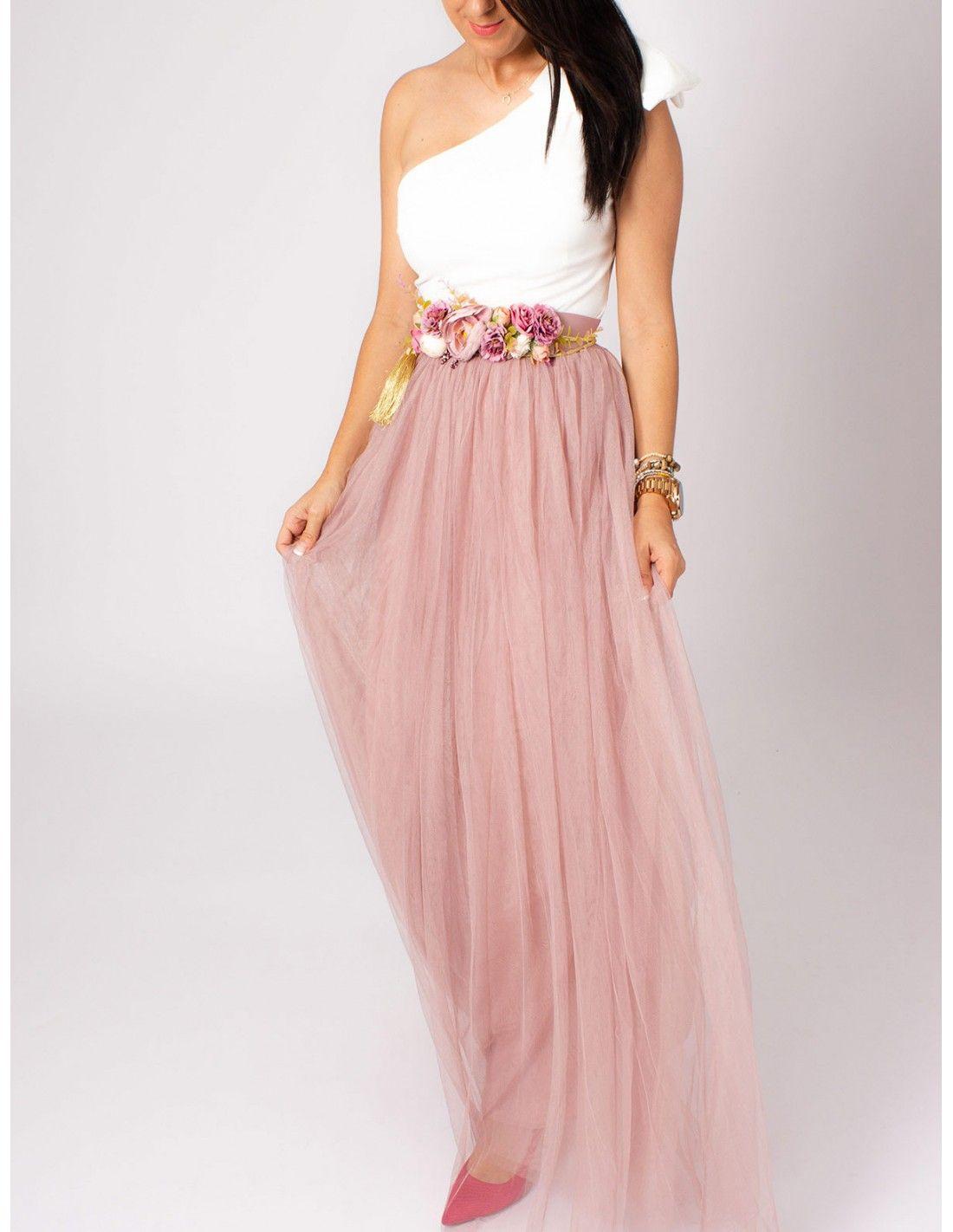 3fb3623a1 Falda Bianca - Falda larga de tul en color rosa. Cintura elástica ...