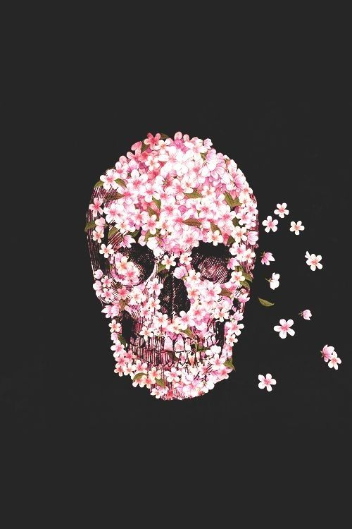 0c2f16237231f Pink foral skull background   wallpaper for iPhone or iPod