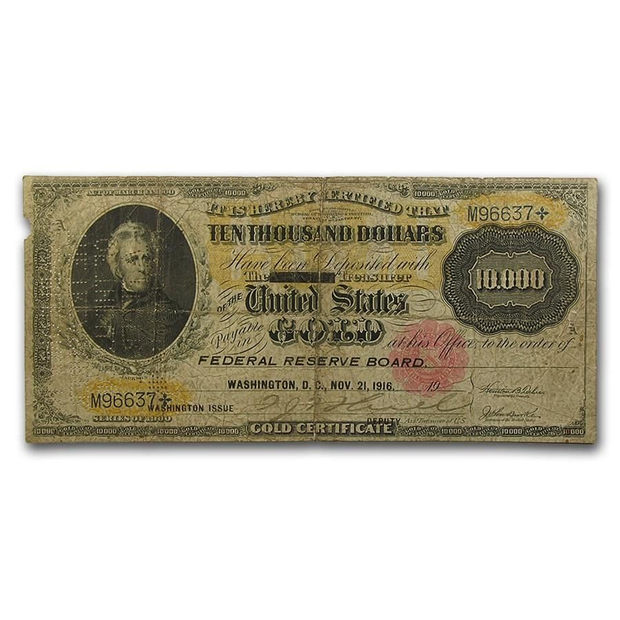 For Purchase 1900 10 000 Gold Certificate Paper Currency Bill Us Note Very Good Vg Unique Historic Includes Sealed Holder Year 1916 Type