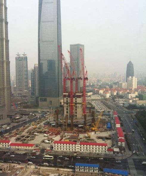 Shanghai Tower under construction seen in April 2011