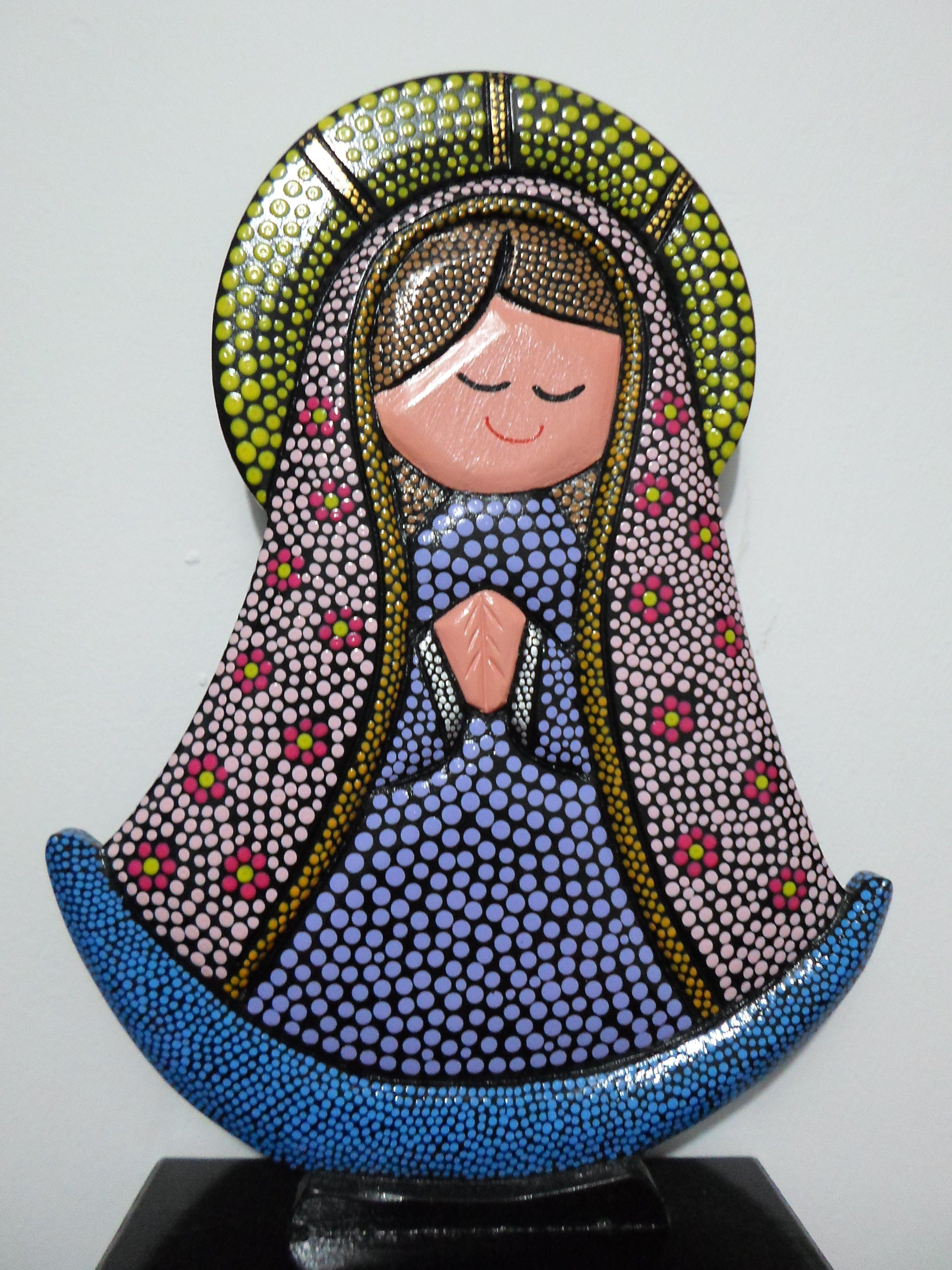 Virgen arte country puntillismo artesanias pinterest for Tecnica para pintar piedras