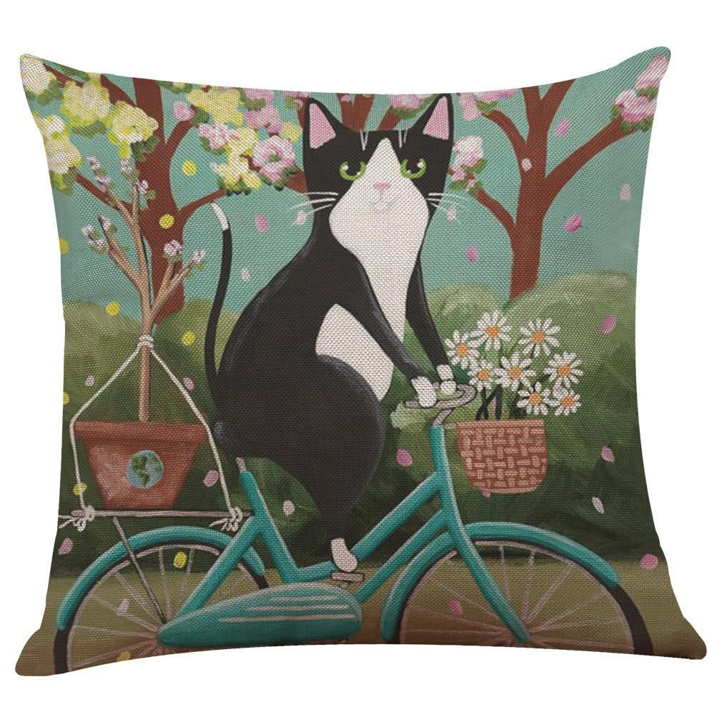 Manta De Suelo Con Cojines.Cat On A Bike Pillow Case Almohadones Cobijas O Mantas