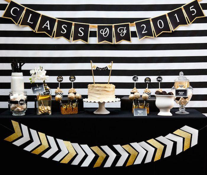 black + gold glamorous graduation party via kara's party ideas