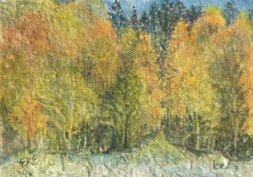 Autumn Splendor ACEO original watercolor painting art Fall landscape