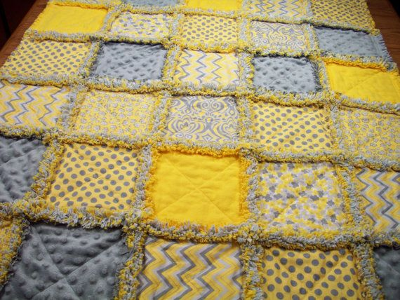 The quilt has been rinsed in cool, clear water once to start the ... : yellow and gray baby quilt - Adamdwight.com