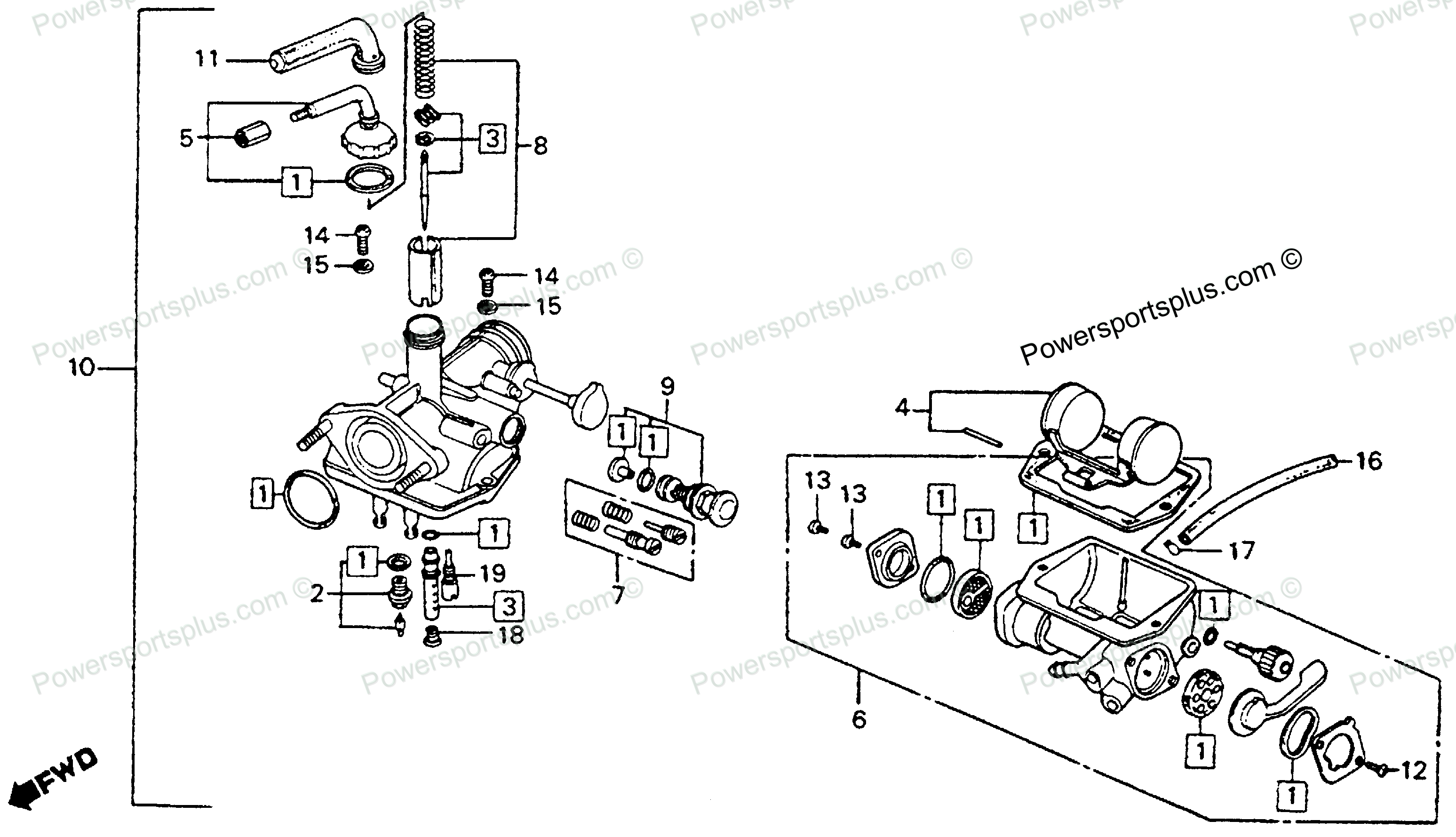Diagram of Honda Motorcycle Parts 1976 CT90 A CARBURETOR K6-77 Diagram  Honda Motorcycle Parts