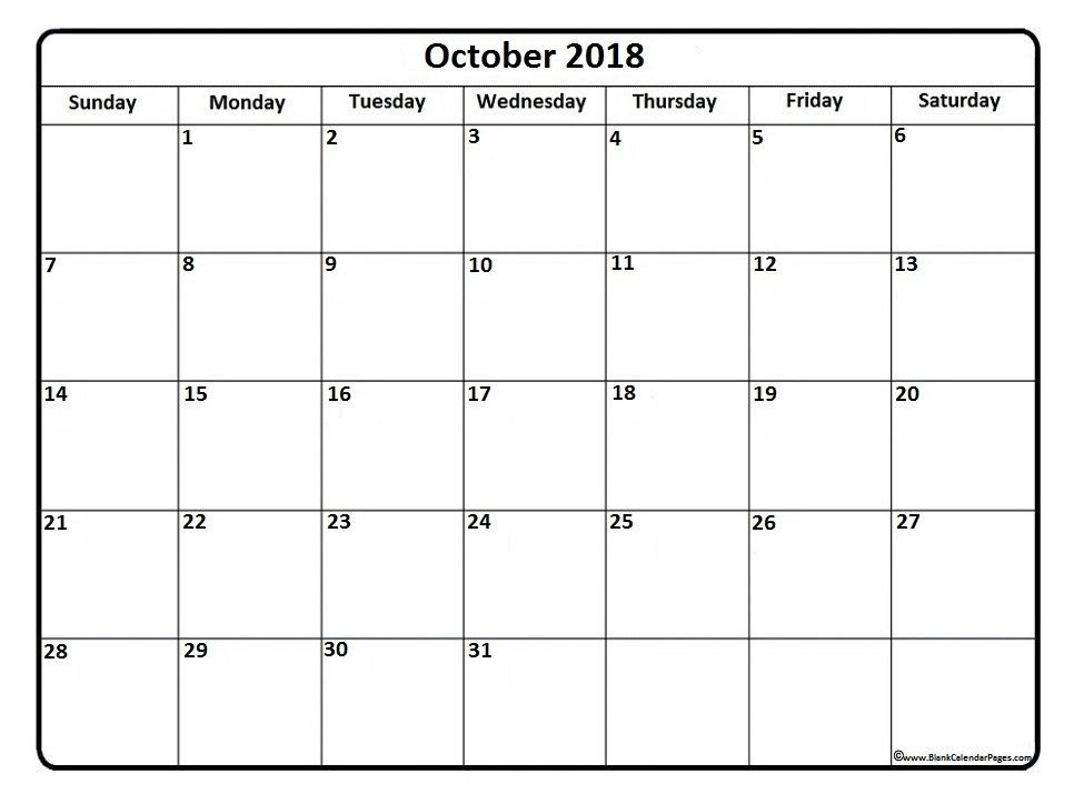 October 2018 Calendar Template Printable October 2018 Calendar