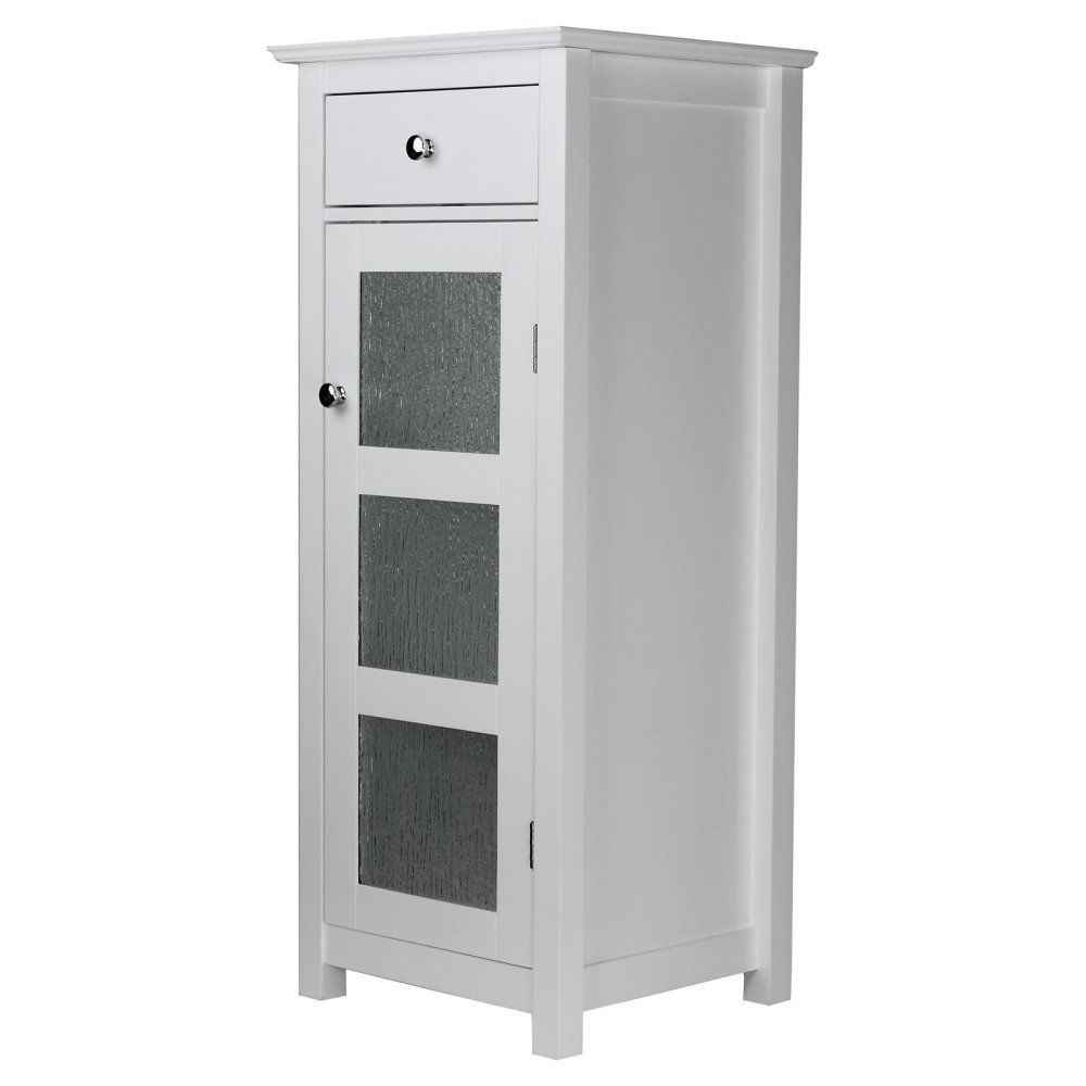 Elegant Home Fashions Connor 1 Door Floor Cabinet With Drawer, White