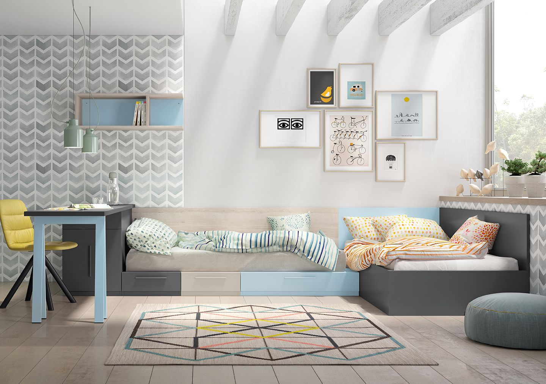 Dormitorio dos camas con cajones acabado cielo y grafito for Habitaciones de dos camas juveniles