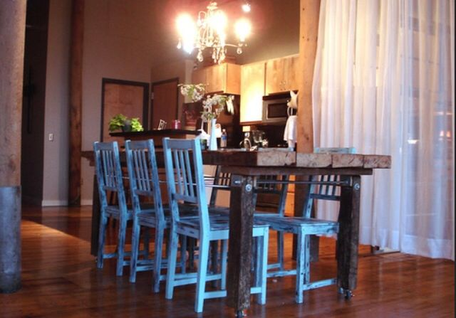 Repurposed wood kitchen table and repurposed chairs iN bold blue...inspiration...goal