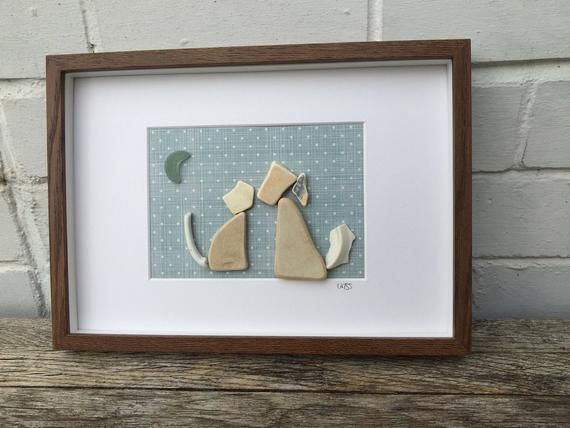 Framed Irish Sea Glass Sea Pottery pictures ~ wall art ~ Handmade & unique gift ~ Animal Lover ~ Dog Walker ~ White Dog and Cat