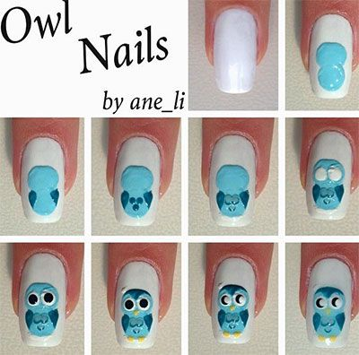 10-Easy-Step-By-Step-Owl-Nail-Art-Tutorials-For-Beginners-2014-2.jpg (400×396)