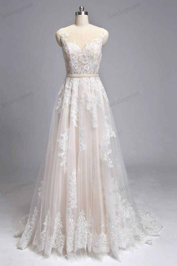 Vintage Lace Wedding Dresses Handmade Sheer Mesh por loveinprom ...