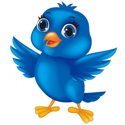 Birds blue. Cartoon bird images of