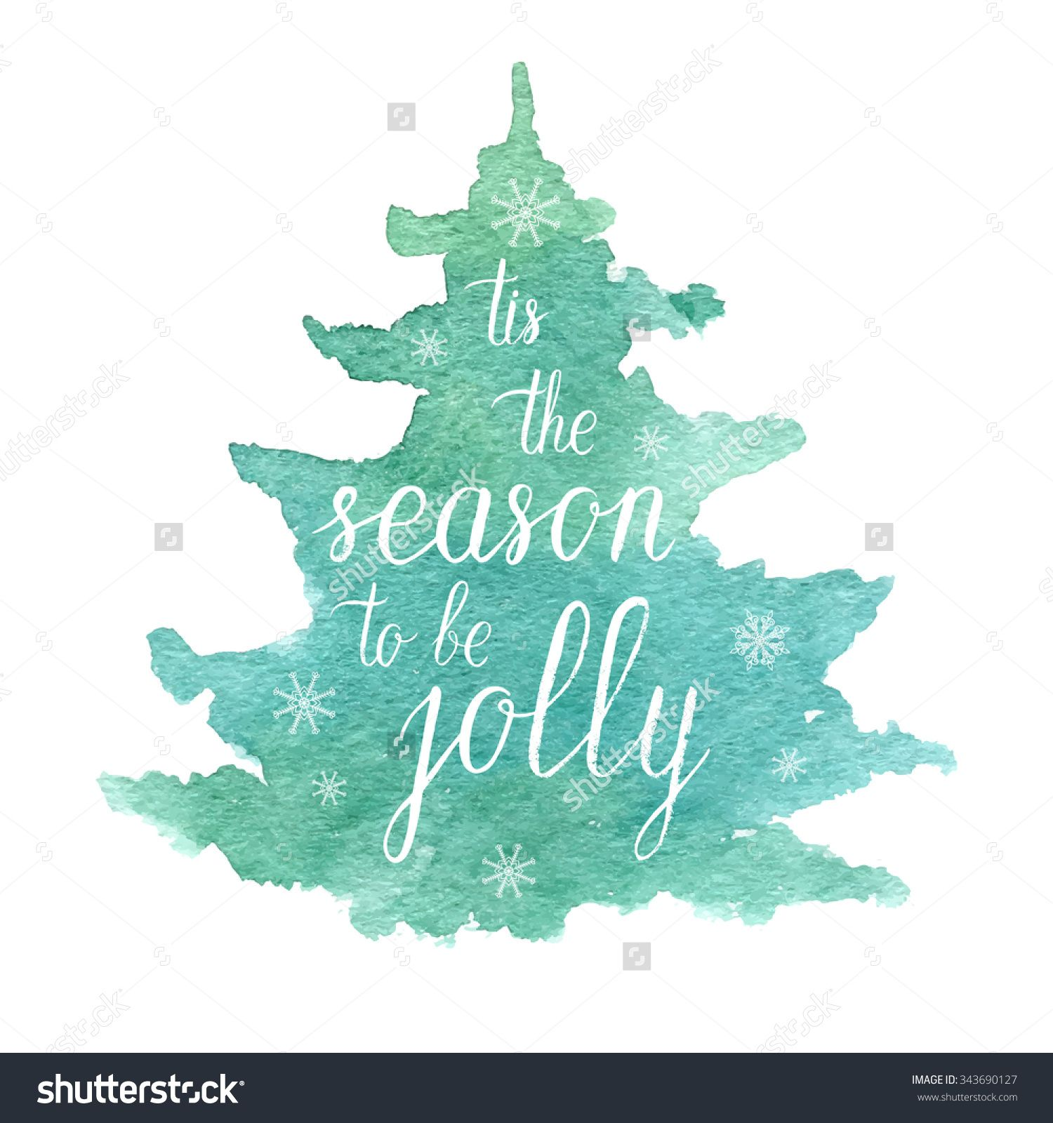 Blue Christmas Tree Watercolor Card Watercolor cards Blue