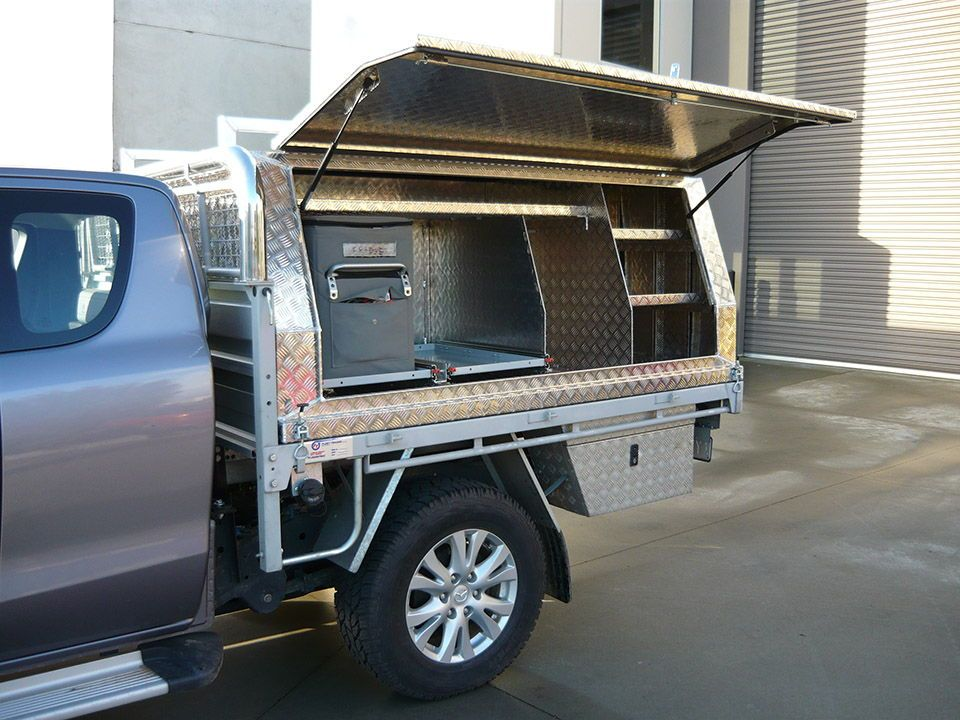 Aluminium Ute Canopy - Full-length stainless steel hinge fitted to doors at Aussie tool boxes. & Two door lift off canopy on Mazda BT-50 ute with custom shelving ...