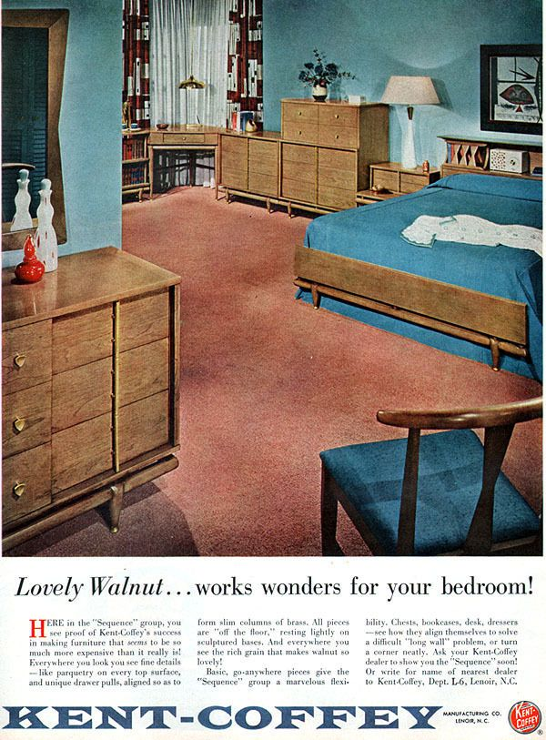 Kent Coffey Furniture SEQUENCE GROUP Bedroom in Walnut MID CENTURY MODERN   56 AdKent Coffey Furniture SEQUENCE GROUP Bedroom in Walnut MID CENTURY  . Mid Century Modern Lane Bedroom Furniture. Home Design Ideas