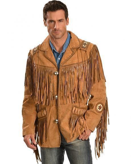 3cd50613855 Mens Scully Leather Western wear Brown Suede Leather Jacket Fringe Bead    Bones  Handmade  Motorcycle