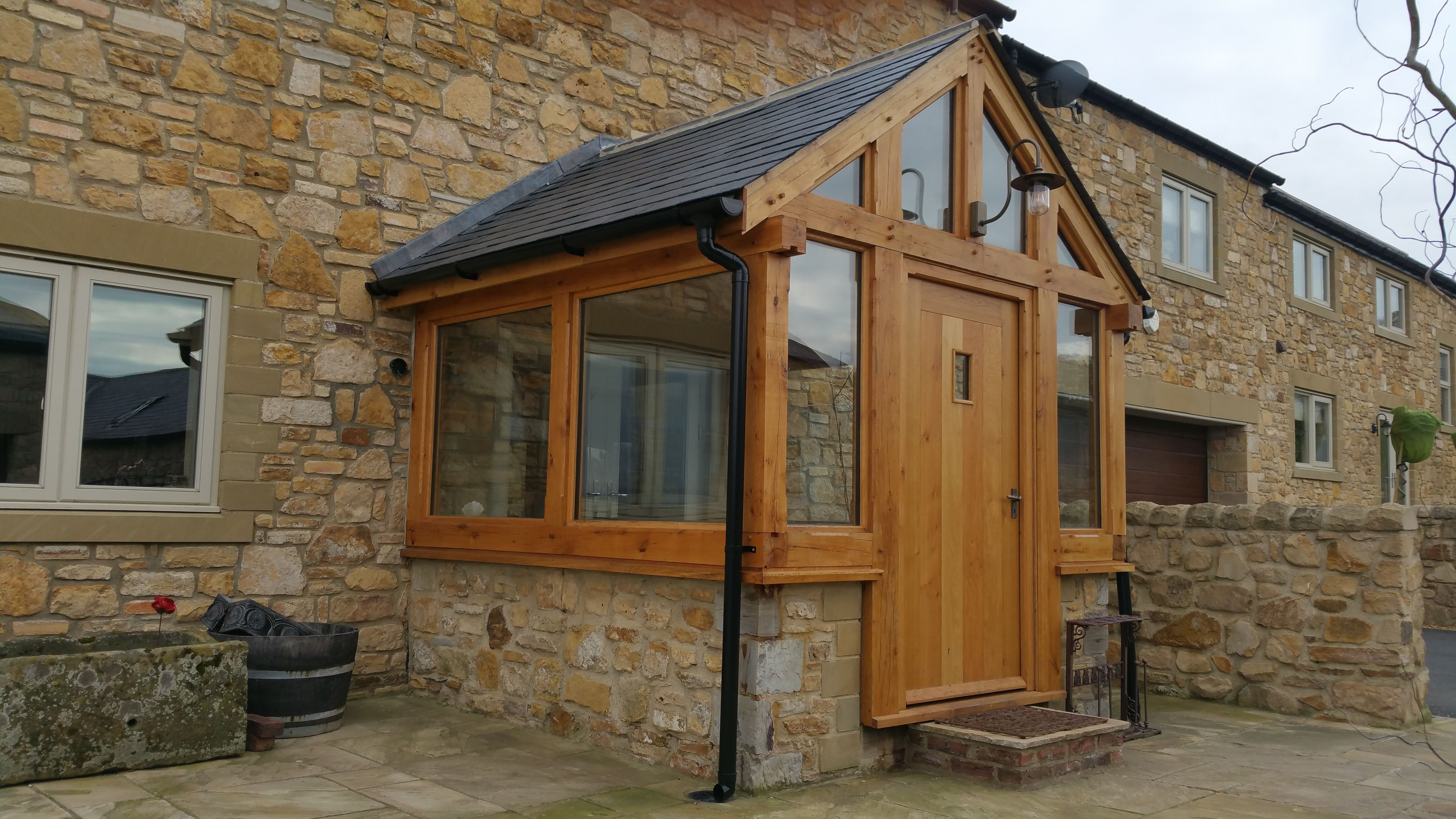Glazed Air Dried Oak Porch With Oak External Door House With