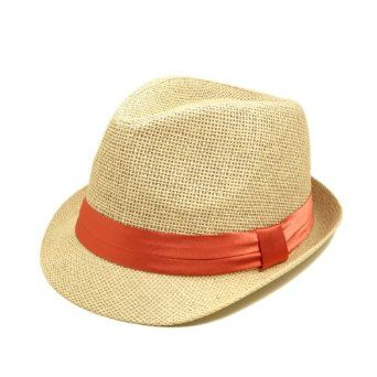 1251d0102970e Classic Natural Fedora Straw Hat with Coral Color Band TrendsBlue.  9.99