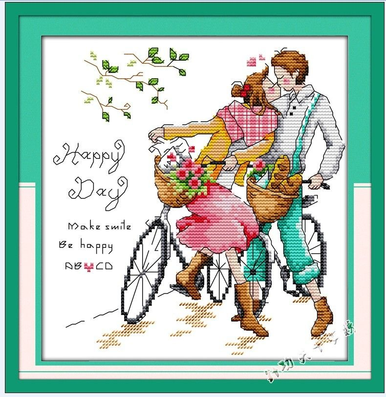 Cross Stitch Romantic Couple | Latest Cross Stitch Living room Accurate Printing Cross Stitch ...