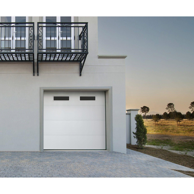 Porte De Garage Sectionnelle Motorisee Artens Essentiel 200 X 300 Cm Avec Hublot Porte De Garage Sectionnelle Porte Garage Et Garage