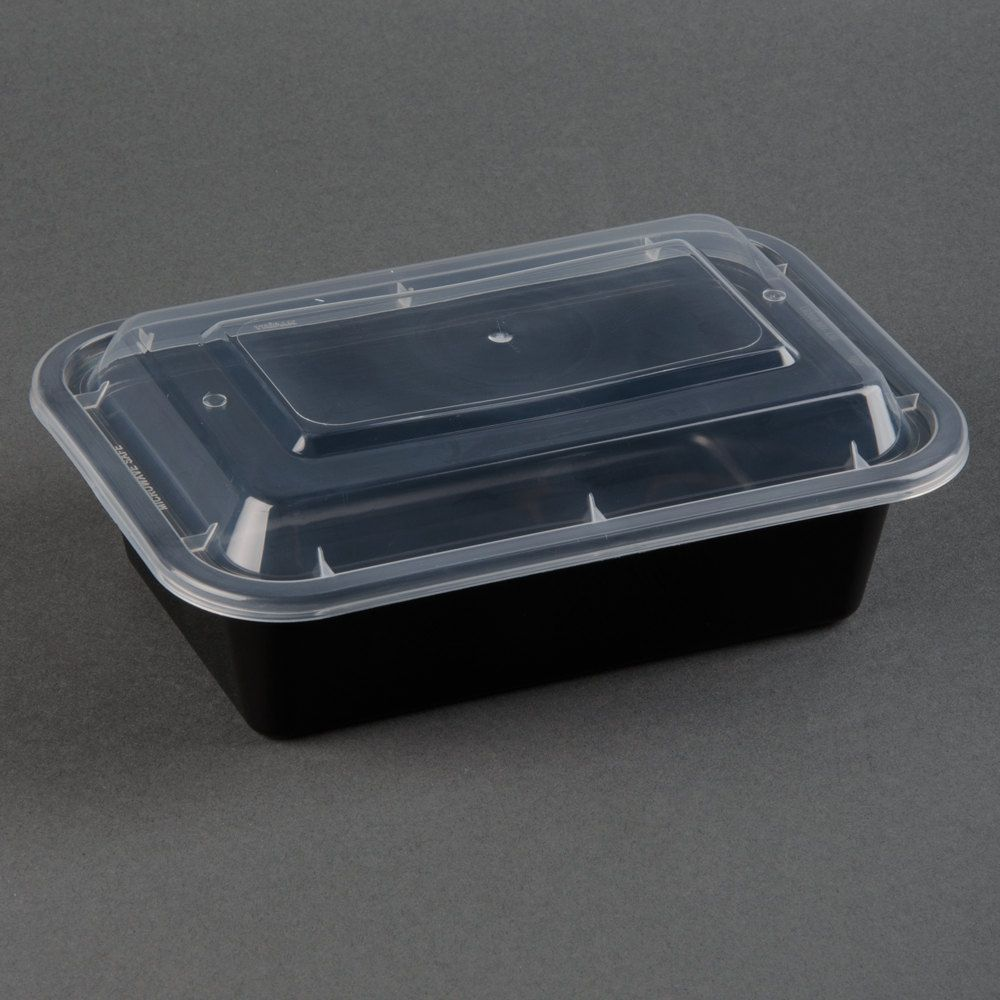 150 BLACK Meal Prep Microwavable Rectangular Food Lunch Container Lid 24 oz 7x5