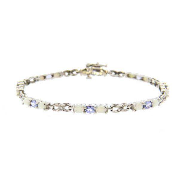 10K White Gold Opal Tanzanite Diamond Line Bracelet