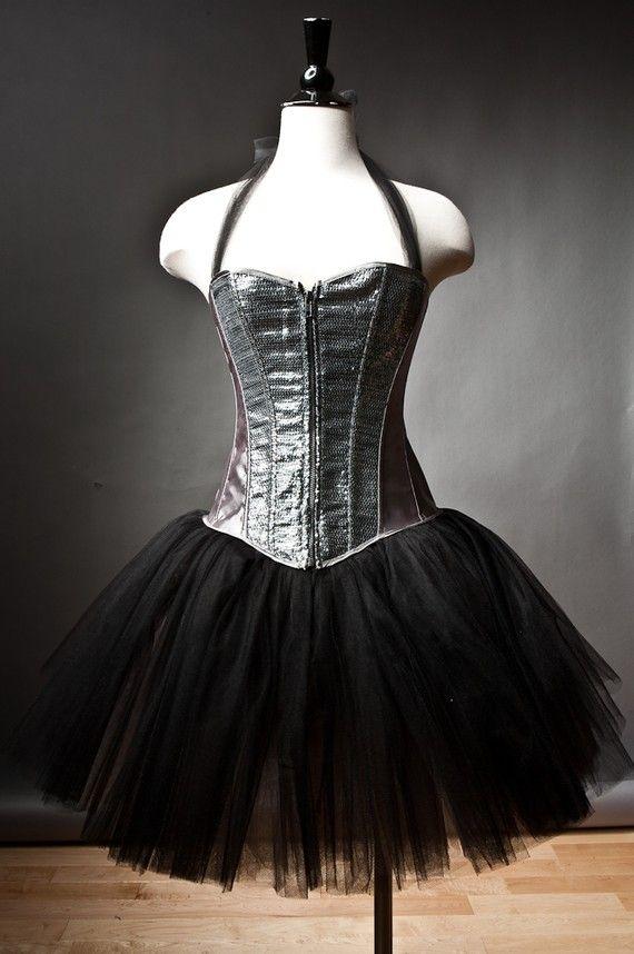 95747f57c48c1 Custom Size silver and black Burlesque sequin tutu corset prom dress ...