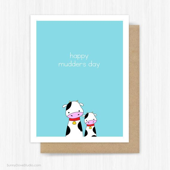 Mothers Day Card For Mom Mother Mum Funny Cute Cow Pun Fun Happy Mothers Mudders Kawaii Handmade Greeting Cards Gifts Gift Ideas Her Cards Mom Cards Cow Puns