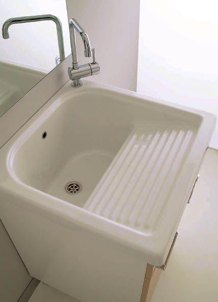 Vasca lavatoio 60x60 con strofinatoio in ceramica incorporato possibile installazione su mobile - Lavatoio ceramica con mobile ...