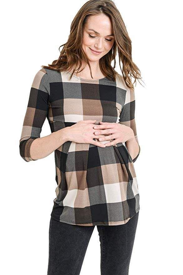 b3a9692e4c3b4 Adorable LaClef Women's Round Neck 3/4 Sleeve Front Pleat Peplum Maternity  Top. #fashion #ad #maternity #amazonfashion #babybump