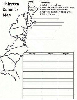 13 Colonies Map Worksheet Middle School Help 3rd Grade Social