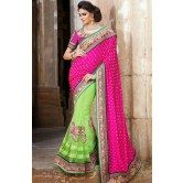 classic-honeydew-and-pink-color-saree